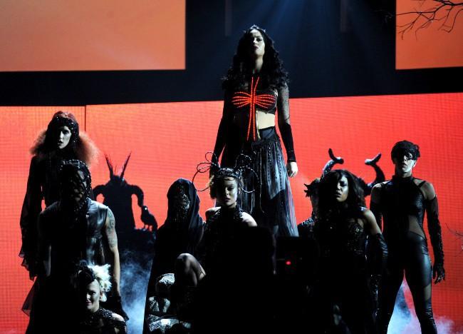 Katy Perry sur la scène des Grammy Awards à Los Angeles, le 26 janvier 2014.