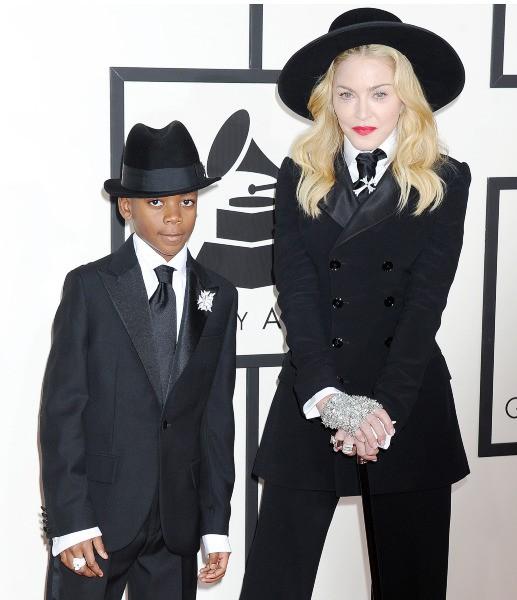 Madonna et son fils David lors des Grammy Awards à Los Angeles, le 26 janvier 2014.