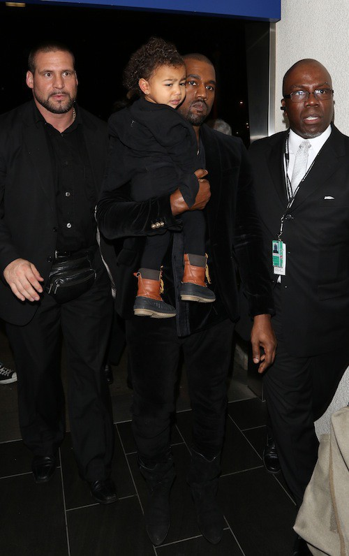 Kim Kardashian, Kanye West et leur fille North après les Grammy Awards 2015