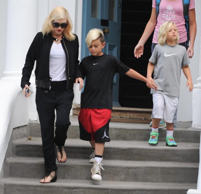 Gwen Stefani avec ses fils à Londres, le 4 août