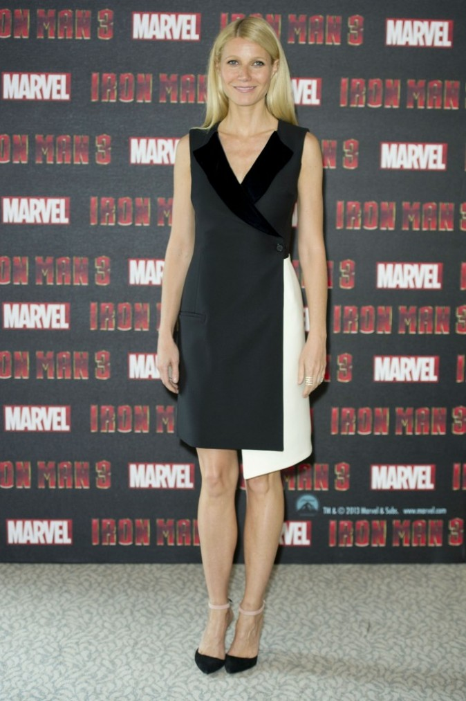 Gwyneth Paltrow lors du photocall d'Iron Man 3 à Londres, le 17 avril 2013.