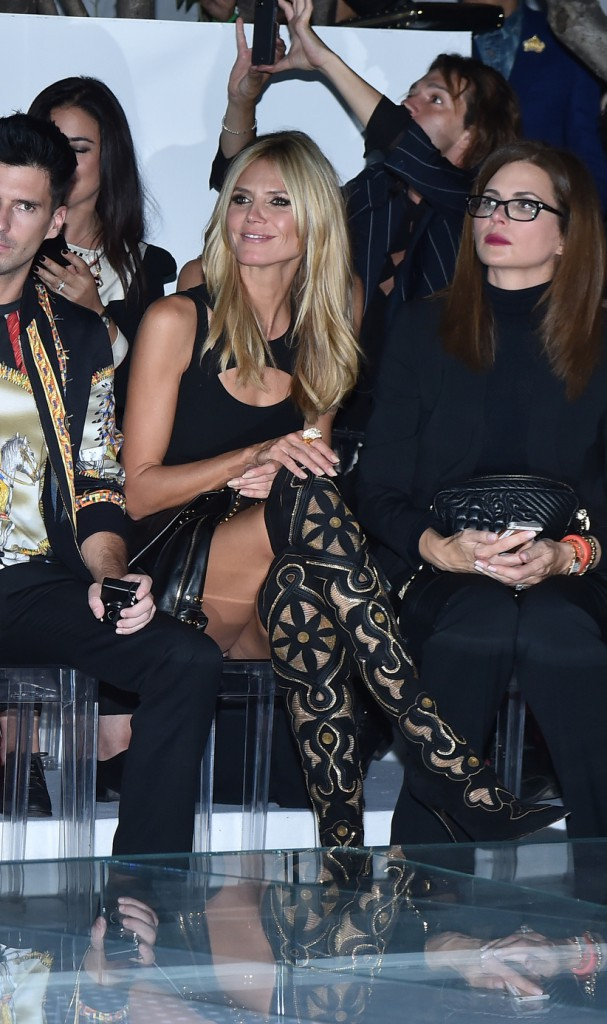 Heidi Klum au défilé Versace organisé à Milan le 19 septembre 2014