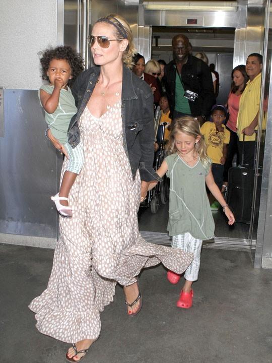 Heidi Klum et sa petite famille qui lui demande une bonne dose d'énergie !