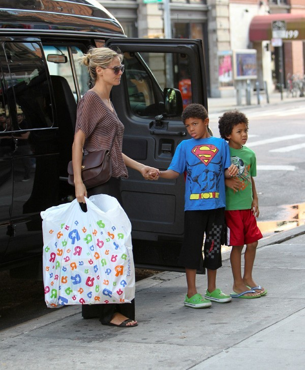 Heidi Klum en famille à New-York le 6 août 2012