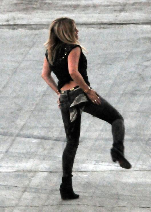 Hilary Duff sur le tournage de son nouveau clip à Los Angeles le 4 septembre 2014