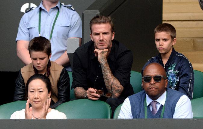 David Beckham avec ses fils le 6 juillet 2016 à Wimbledon