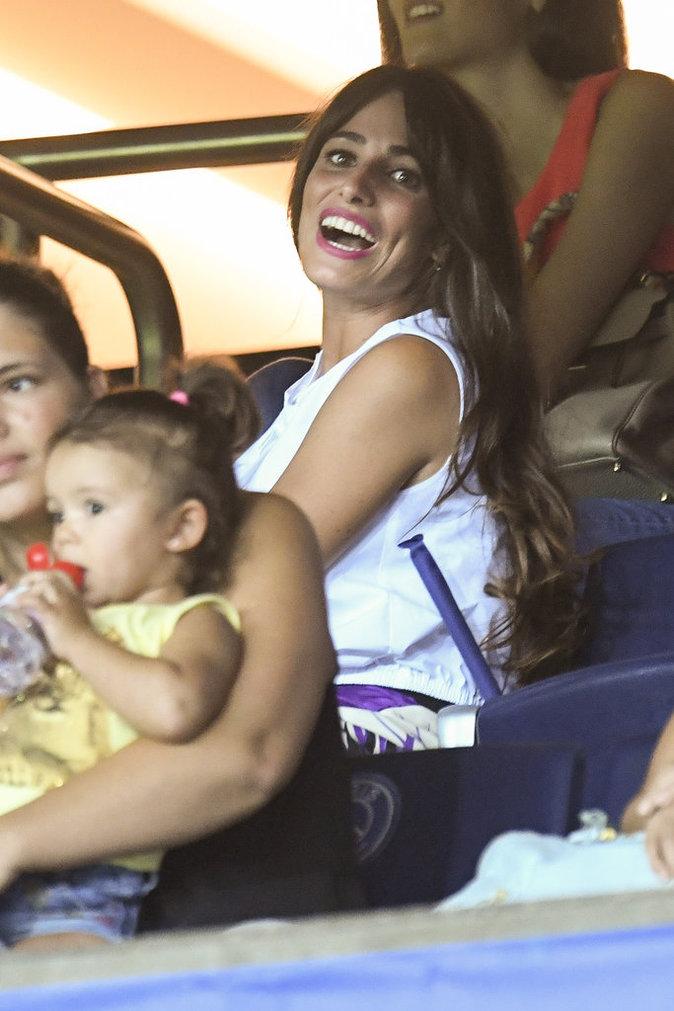 Jorgelina Caroso, la femme d'Angel Di Maria au match PSG - Arsenal au Parc des Princes le 13 septembre 2016