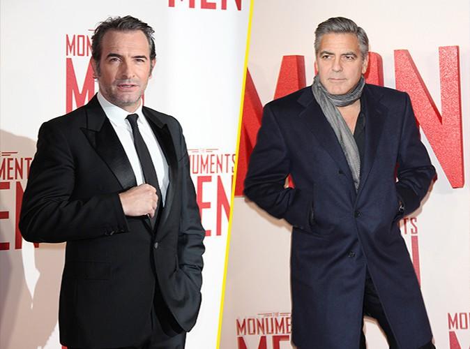 Jean Dujardin et George Clooney à Londres le 11 février 2014