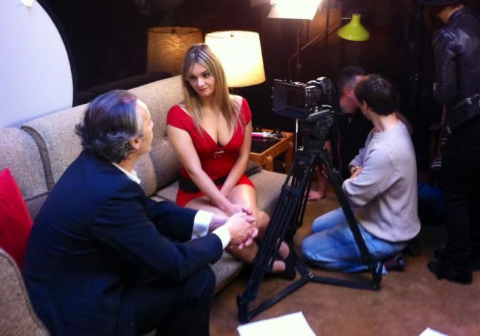 Jean-Michel Maire et Charlotte Aerts sur le tournage de leur pub pour Egotabaco.