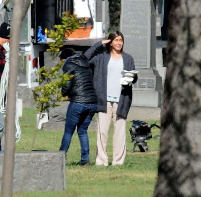 Jennifer Aniston sur le tournage de son nouveau film à Pasadena le 3 avril 2014