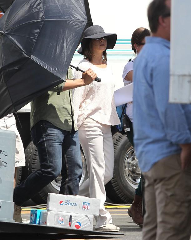 Jennifer Aniston sur le tournage de son nouveau film, Cake, à Los Angeles le 8 avril 2014