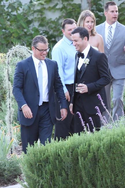 Jimmy Kimmel lors de son mariage en Californie, aux côtés de Matt Damon, le 13 juillet 2013.