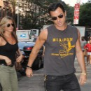 Jennifer Aniston et Justin Theroux à New York, le 20 juillet 2013.