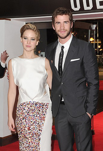Jennifer Lawrence et Liam Hemsworth à Londres le 11 novembre 2013