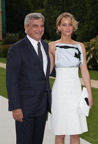 Sidney Toledano et Jennifer Lawrence à Paris le 7 juillet 2014