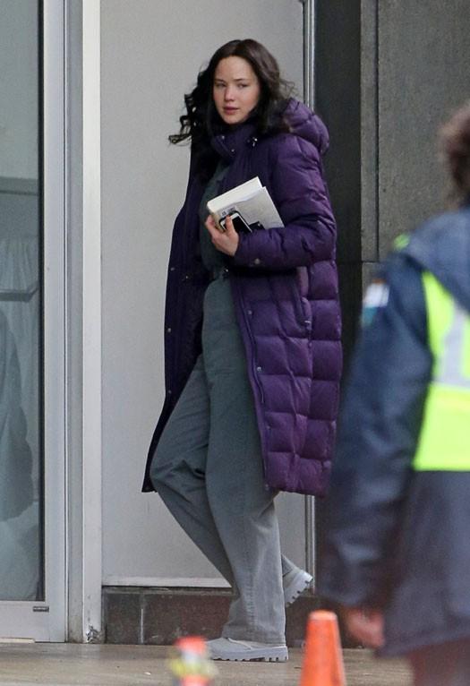 Jennifer Lawrence sur le tournage d'Hunger Games à Atlanta le 5 février 2014