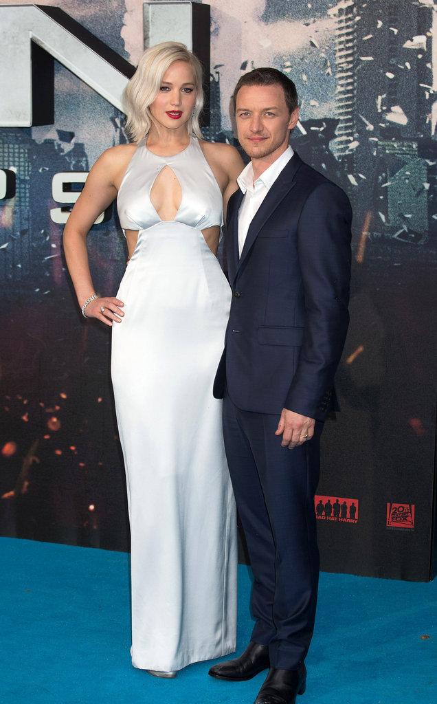 """Jennifer Lawrence et James McAvoy à la Première du film """"X-Men: Apocalypse"""" à Londres le 9 mai 2016"""