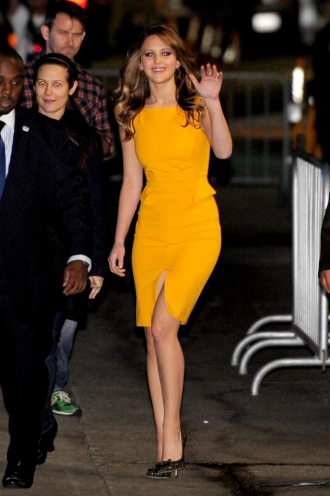 """Jennifer Lawrence arrive sur le plateau de l'émission """"Jimmy Kimmel Live"""" à Hollywood, le 31 janvier 2013."""