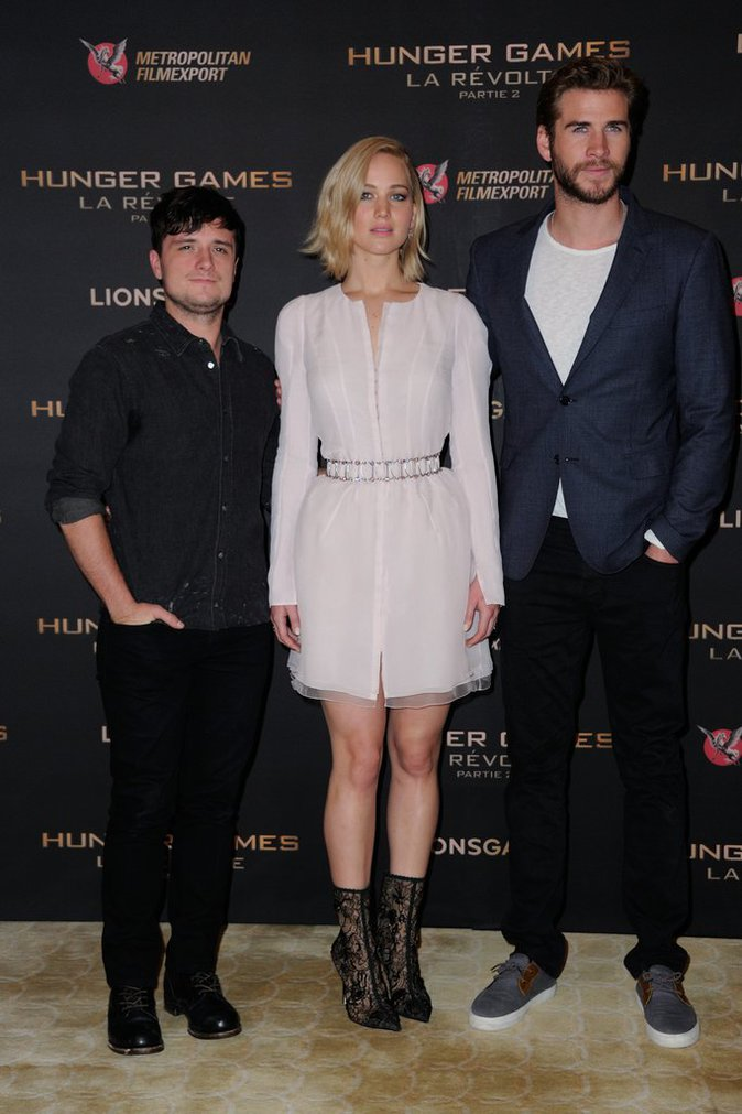 Jennifer Lawrence, Liam Hemsworth, Josh Hutcherson le 9 novembre 2015