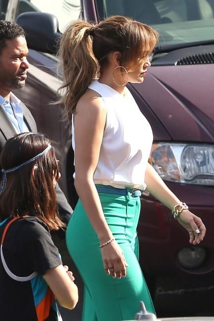 Jennifer Lopez lors du tournage d'American Idol à Los Angeles, le 19 avril 2012.
