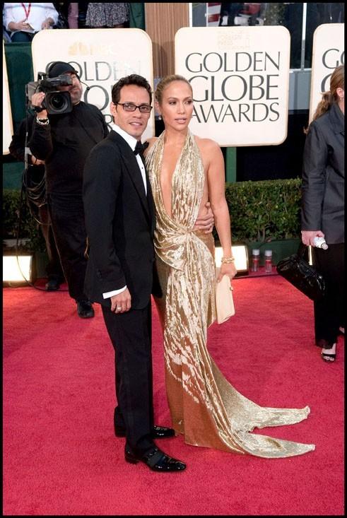 Jennifer Lopez et Marc Anthony lors de la cérémonie des Golden Globes à Beverly Hills, le 11 janvier 2009.