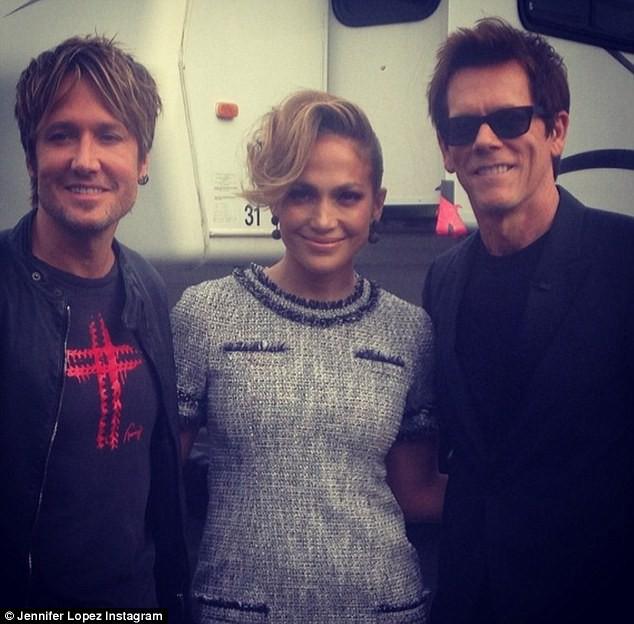 Keith Urban, Jennifer Lopez et Kevin Bacon sur le plateau de l'émission American Idol, le 17 avril 2014.