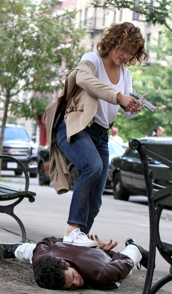 Jennifer Lopez en tournage à New-York le 5 août 2015
