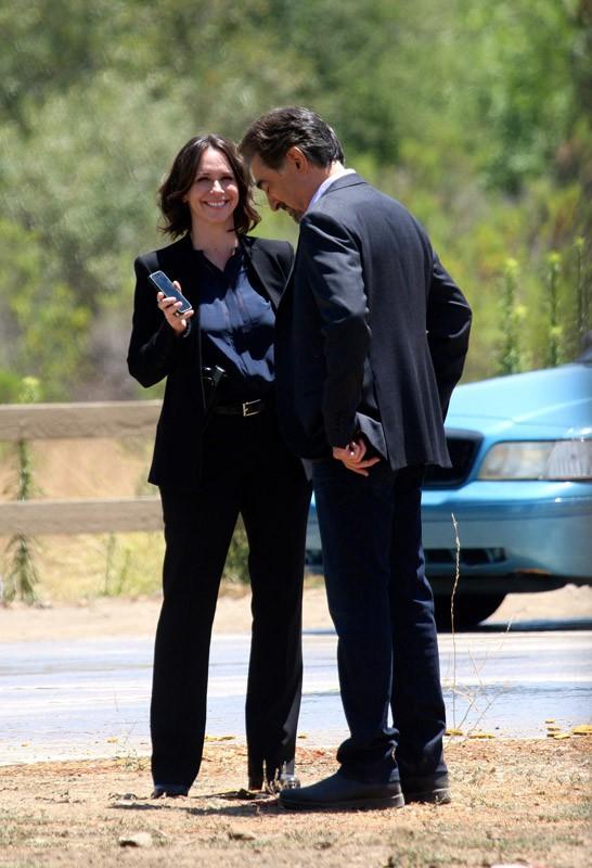 Jennifer Love Hewitt sur le tournage d'Esprits Criminels, à Los Angeles, le 21 juillet 2014