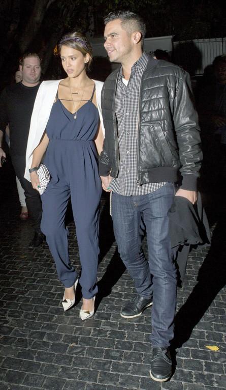 Jessica Alba et Cash Warren au Château-Marmont de Los Angeles le 24 janvier 2014
