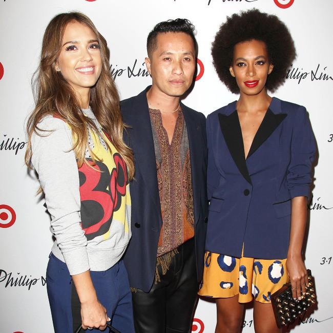 Jessica Alba, Phillip Lim et Solange Knowles lors d'un événement mode à New York, le 5 septembre 2013.