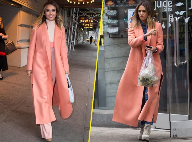 Jessica Alba : Rendez-vous pro ou vir�e shopping, elle ne l�che plus son manteau corail !