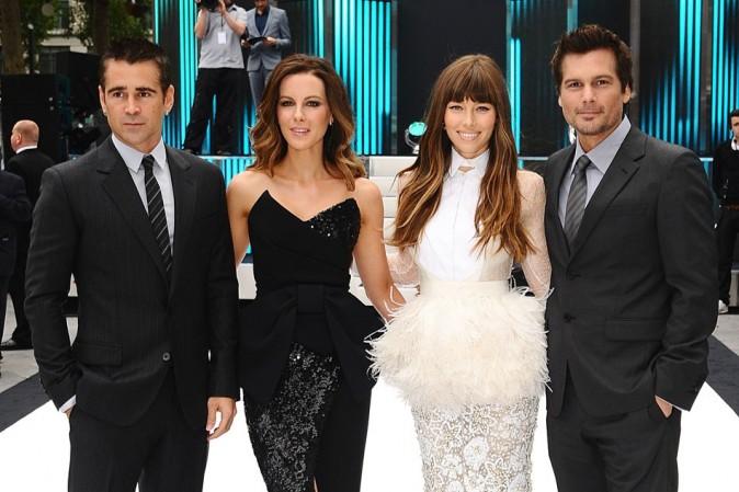Jessica Biel, Kate Beckinsale, Len Wiseman et Colin Farrell le 16 août 2012 à Londres