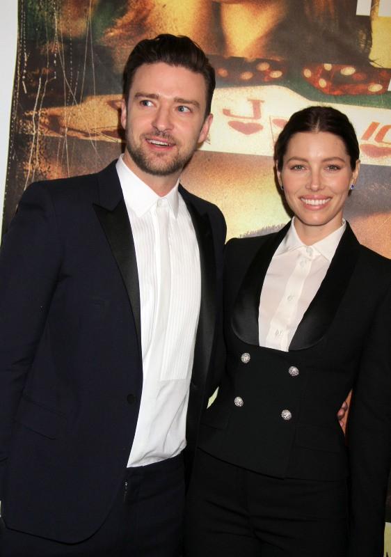 Justin Timberlake et Jessica Biel lors de la première du film Players à Las Vegas, le 18 septembre 2013.