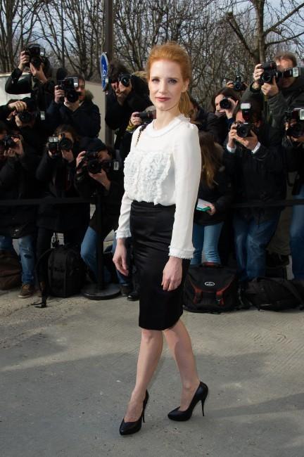 Jessica Chastain, à l'entrée du Grand Palais