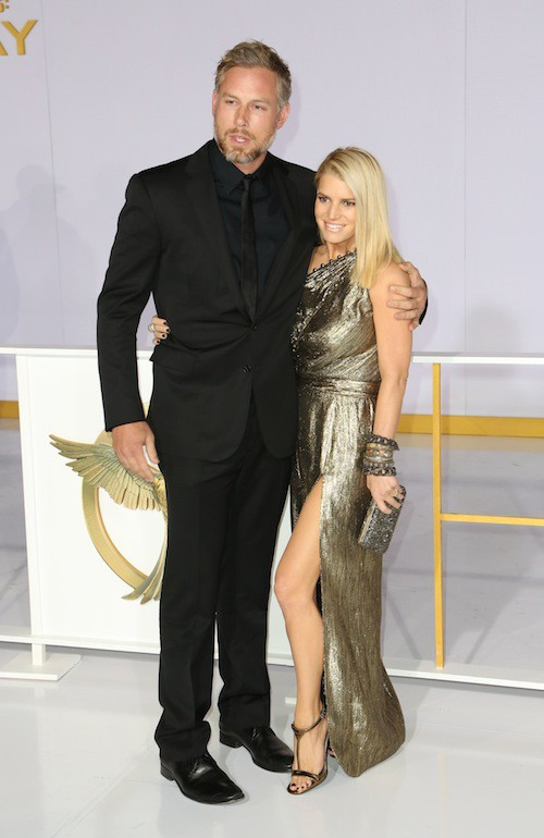 Jessica Simpson et Eric Johnson à la première de Hunger Games à Los Angeles, le 17 novembre 2014