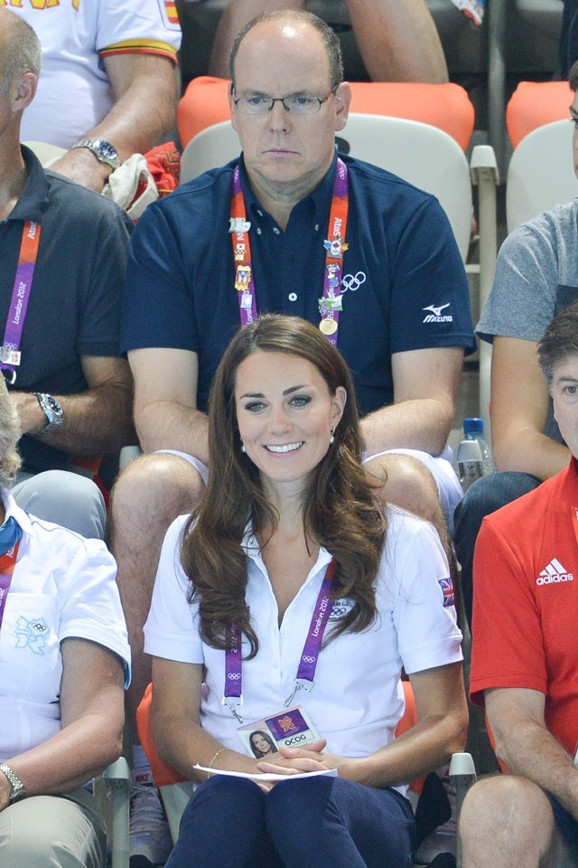 Kate Middleton et le Prince Abert de Monaco à l'aquatics center de Londres le 9 août 2012
