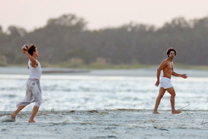 Joe Manganiello et Matt Bomer sur le tournage de Magic Mike XXL à Savannah le 9 octobre 2014