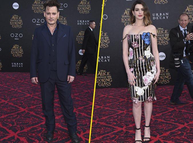 Johnny Depp et Anne Hathaway : formidable duo d'acteurs pour l'Avant-Première d'Alice de l'autre côté du miroir