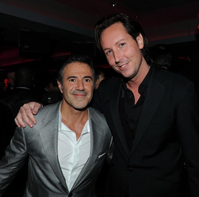 José Garcia et Gregory Lentz (équipe de l'Arc Paris) lors de l'after-party du film La Vérité Si Je Mens 3 à L'Arc à Paris, le 30 janvier 2012.