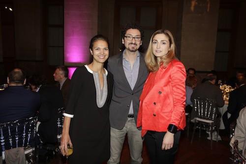 Isabelle Giordano, David Foenkinos et Julie Gayet aux Trophées du Film Français à Paris, le 12 février 2015