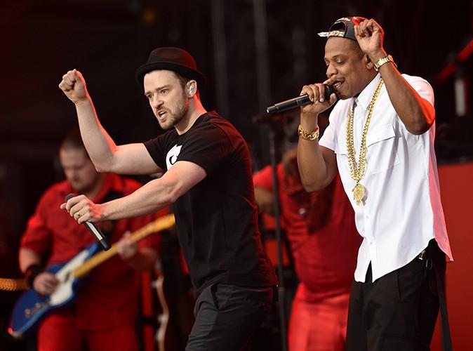 Justin Timberlake et Jay-Z au Yahoo! Wireless Festival de Londres, le 14 juillet 2013