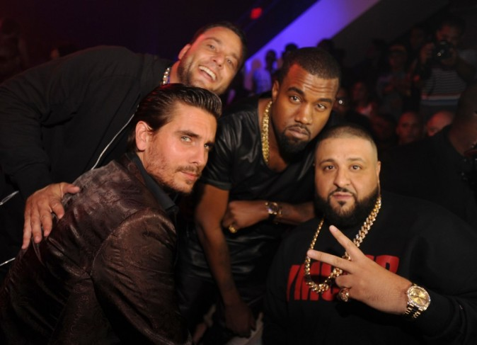 Scott Disick, Kanye West et DJ Khaled à Miami, le 26 novembre 2012.