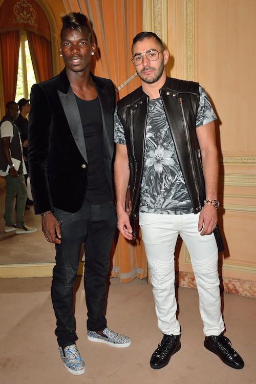 Karim Benzema et Paul Pogba au défilé Balmain Homme à Paris, le 27 juin 2015!