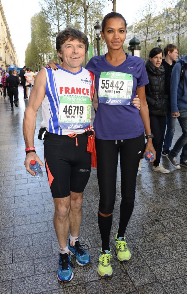 Karine Le Marchand et Philippe Bornard au marathon de Paris le 6 avril 2014