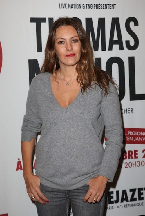 Karole Rocher au spectacle de son compagnon, Thomas Ngijol, à Paris le 27 octobre 2014