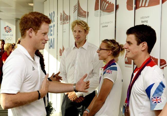 Le prince Harry rend visite au Team GB à Stratford, le 9 août 2012.