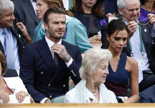 Victoria et David Beckham à Wimbledon, le 6 juillet 2014
