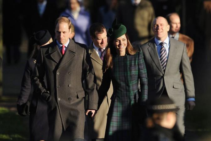 Prince William et Kate Middleton à la messe de Noël célébrée en l'église St Mary Magdalene le 25 décembre 2013