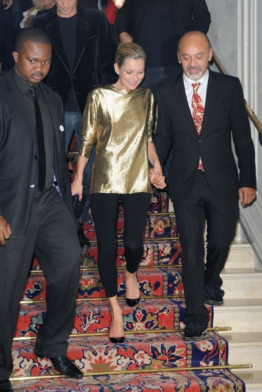 """Kate Moss et Christian Louboutin lors de la soirée """"Kate Moss for FRED"""" au Ritz, le 4 octobre 2011."""