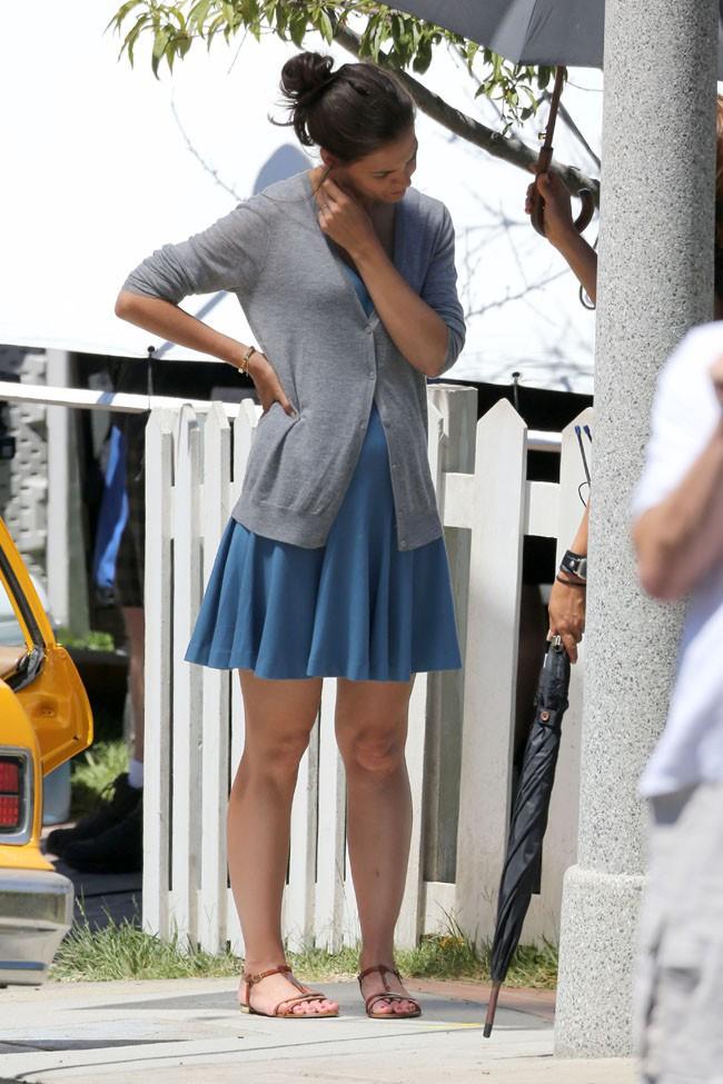 Katie Holmes et Ryan Reynolds sur le tournage de leur nouveau film à West Hollywood le 16 juillet 2014